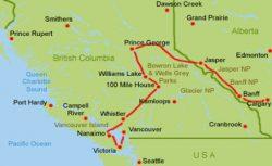 Westkanada Wohnmobil Route