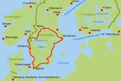 Schweden Wohnmobil Route
